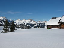 Immagine di inverno, alpi svizzere Immagine Stock