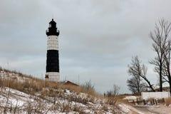 Immagine di inverno di grande faro del punto del nero Fotografia Stock Libera da Diritti