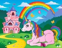 Immagine di menzogne 2 di tema dell'unicorno illustrazione vettoriale