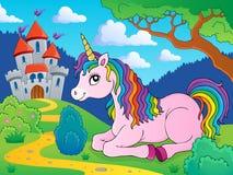 Immagine di menzogne 3 di tema dell'unicorno illustrazione di stock