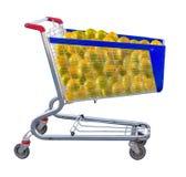 Immagine di molte arance in primo piano del carretto del prodotto immagini stock libere da diritti