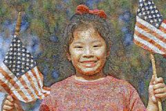 Immagine di mosaico composita delle bandiere americane di una tenuta della ragazza fotografie stock libere da diritti
