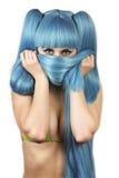 Immagine di nascondere donna sveglia Fotografia Stock Libera da Diritti
