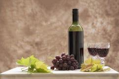 Immagine di natura morta di vino, dell'uva e delle foglie di vite Fotografia Stock