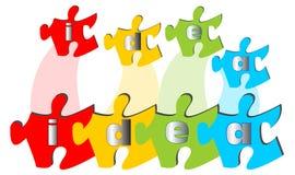 Immagine di presentazione - l'idea di parola nel puzzle illustrazione vettoriale