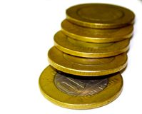 Immagine di riserva dell'indiano dieci monete della rupia Fotografia Stock
