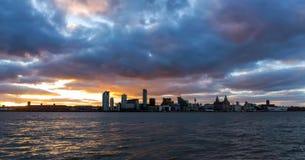 Immagine di riserva dell'orizzonte di Liverpool, Regno Unito fotografia stock libera da diritti