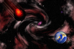 Immagine di riserva della scena dell'asteroide dello spazio royalty illustrazione gratis