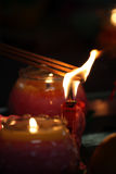 Immagine di riserva delle candele con un fondo molle Fotografie Stock