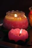 Immagine di riserva delle candele con un fondo molle Fotografia Stock Libera da Diritti