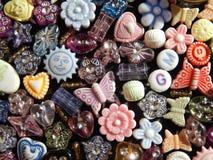 Immagine di sfondo assortita delle perle Fotografia Stock