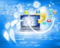 Immagine di sfondo con il computer portatile Fotografie Stock