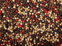 Immagine di sfondo dei granelli di pepe misti Immagini Stock