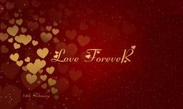 Immagine di sfondo di giorno di biglietti di S. Valentino Carta di amore Day Rosa rossa Amore per sempre illustrazione di stock