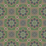 Immagine di sfondo senza cuciture antica del fiore verde orientale dell'incrocio della struttura del quadrato dell'ottagono illustrazione di stock
