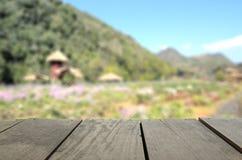 Immagine di sfuocatura del legno del terrazzo di agricoltura e di bello giardino Fotografia Stock Libera da Diritti