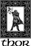 Dio Thor dei norvegesi con il confine Immagine Stock