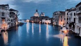 Immagine di stile della pittura a olio del canal grande Fotografie Stock
