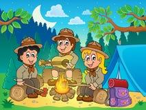 Immagine 4 di tema degli esploratori dei bambini Immagine Stock