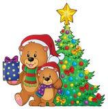 Immagine 4 di tema degli orsi di Natale Immagine Stock