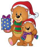 Immagine 1 di tema degli orsi di Natale Immagini Stock Libere da Diritti