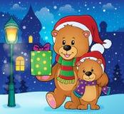 Immagine 2 di tema degli orsi di Natale Immagini Stock Libere da Diritti