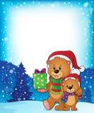 Immagine 3 di tema degli orsi di Natale Fotografie Stock Libere da Diritti