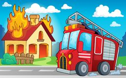 Immagine 3 di tema del camion dei vigili del fuoco Immagine Stock