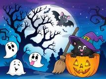Immagine 4 di tema del gatto di Halloween illustrazione di stock