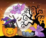 Immagine 5 di tema del gatto di Halloween illustrazione di stock