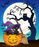 Immagine 9 di tema del gatto di Halloween Fotografia Stock