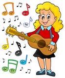 Immagine 2 di tema del giocatore di chitarra della ragazza Immagini Stock