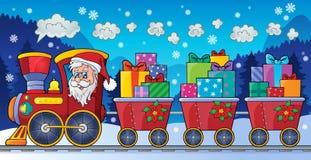 Immagine 5 di tema del treno di Natale Fotografia Stock Libera da Diritti