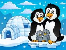 Immagine 2 di tema della famiglia del pinguino Immagine Stock