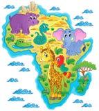 Immagine 1 di tema della mappa dell'Africa Immagini Stock Libere da Diritti