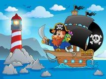 Immagine 2 di tema della nave di pirata illustrazione vettoriale