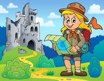 Immagine 8 di tema della ragazza dell'esploratore Fotografie Stock