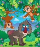 Immagine 2 di tema della scimmia illustrazione vettoriale