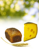 Immagine di un bicchiere di latte, pane sul primo piano del bordo, del grano e del formaggio fotografie stock