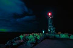 Immagine di un faro entro la notte Fotografia Stock