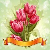 Immagine di un mazzo dei fiori dei tulipani rosa Fotografia Stock Libera da Diritti