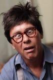 Immagine di un uomo bizzarro con gli occhi attraversati immagine stock libera da diritti