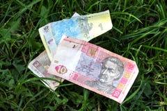 Immagine di una banconota ucraina di Hryvnia su un fondo dell'erba Fotografia Stock Libera da Diritti
