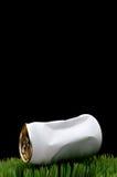 Immagine di una latta di soda schiacciata bianca gettata su erba immagini stock