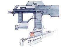 Immagine di una mitragliatrice leggera esclusiva dell'arma automatica per la mischia illustrazione di stock