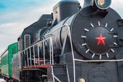 Immagine di vecchio primo piano locomotivo Fotografia Stock