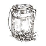 Immagine di vettore del bidone e dei wildflowers di latte Disegno di stile di schizzo royalty illustrazione gratis