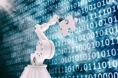 Immagine di vettore del puzzle 3d della tenuta del robot Immagini Stock