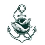 Immagine di vettore dell'ancora e della balena Schizzo del tatuaggio illustrazione vettoriale