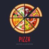 Immagine di vettore dell'insieme delle fette di pizza italiana Immagini Stock Libere da Diritti
